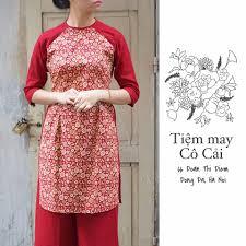 Mẫu áo dài may sẵn cách tân in hoa nhỏ tại Tiệm áo dài cô Cải